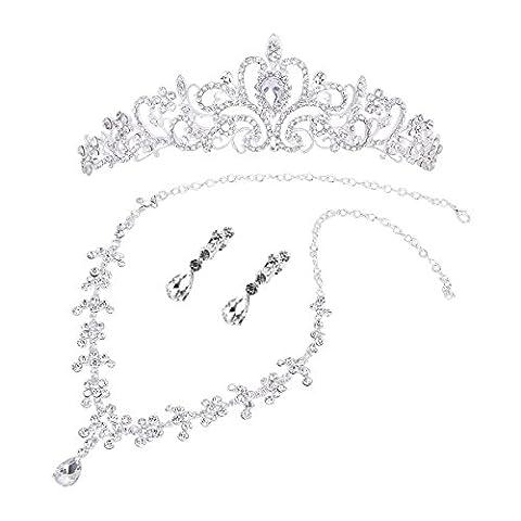 OULII Wedding Jewelry Sets Bridal Wedding Jewelry Set Crystal Rhinestone Tiara Necklace Earring Jewelry Sets