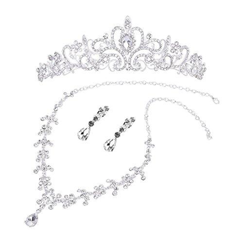 ROSENICE Kristall Diadem Krone Anhänger Halskette Ohrringe Hochzeit Braut Schmuck Set