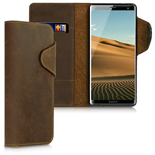 kalibri Sony Xperia XZ3 Hülle - Leder Handyhülle für Sony Xperia XZ3 - Handy Wallet Case Cover