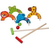 Jacootoys Juego de croquet de madera para animales de la selva, juguetes de golf, al aire libre, juegos educativos para niños por parte de la familia