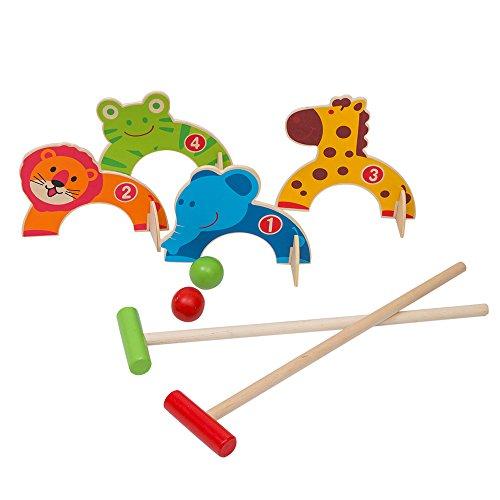 Jacootoys Holzkrokett-Set Dschungel Tiere Golf Spielzeug Outdoor Familien Lernspiele für Kinder