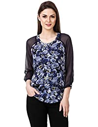 Mind The Gap Georgette Floral Print Blue Top With Solid Blue Inner