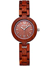 SKONE Wood Womens Watch with Nail Scale Analog Quartz Movement (Red)