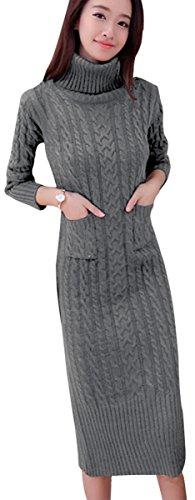 BN BININBOX Damen Strickkleid Herbst mit Rollkragen Sweater dress Midilang mit Tunnelzug Taschen in 4 Farben Schlitz (L, Hellgrau)