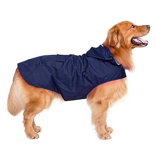 Decdeal riflessivo pet cani cappotto pioggia impermeabile con foro guinzaglio per cani di medie grandi dimensioni