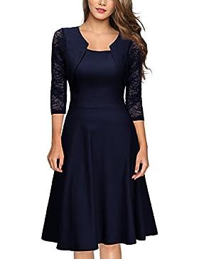 MIUSOL Donna Vintage 1950s Vestito Elegante Manica 3/4 Abito a Pieghe
