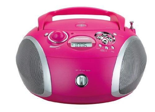 Grundig RCD 1445 Radio (USB 2.0) mit CD/-MP3/-WMA Wiedergabe pink/silber