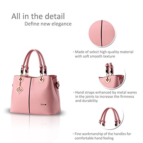 NICOLE&DORIS Nuove donne / Donna Fashion Boutique Top Handle borsa di Crossbody della spalla della borsa del Tote della cartella PU vino rosso Rosa