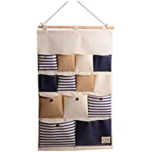 Para colgar bolsa de almacenamiento organizador lino/algodón tela bolsillos pared armario de puerta