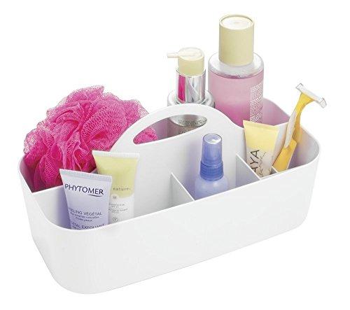 mDesign Badezimmer Korb - 6 Fächer - Organizer Dusche und Bad - Aufbewahrungsbox - Farbe: Weiß, Material: Kunststoff - Für Duschgel, Shampoo, Rasierer