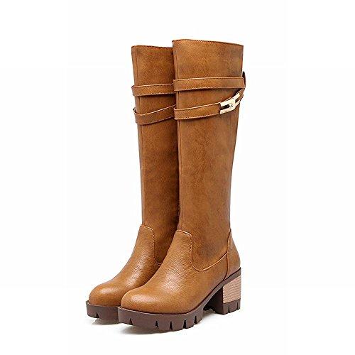Mee Shoes Damen chunky heels langschaft Plateau Stiefel Gelbbraun