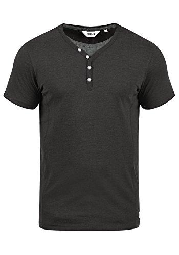 Double Layer Tee Top (!Solid Dorian Herren T-Shirt Kurzarm Shirt Mit Grandad-Kragen, Größe:S, Farbe:Dark Grey Melange (8288))