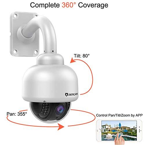 Dericam Wireless IP Kamera, Outdoor WiFi PTZ Überwachungskamera Wasserdicht Aussen, 1080P Full HD, 4X Optischer Zoom, Schwenk/Neige/Zoom, Nachtsicht, Vorinstallierte 32 GB Speicherkarte