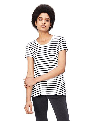 White Scoop Neck Tee (Daily Ritual Women's Jersey Short-Sleeve Scoop Neck Swing T-Shirt, White-Navy Stripe, Large)