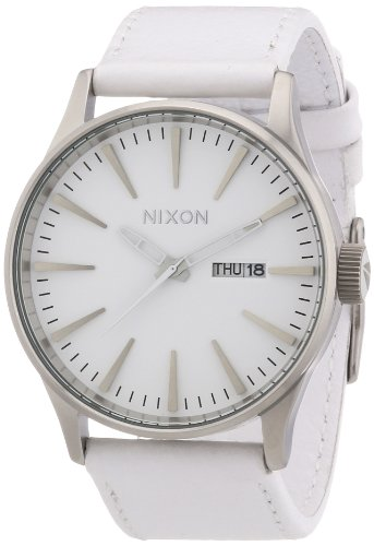 Nixon The Sentry Leather Silver/White Herrenuhr (A105391)