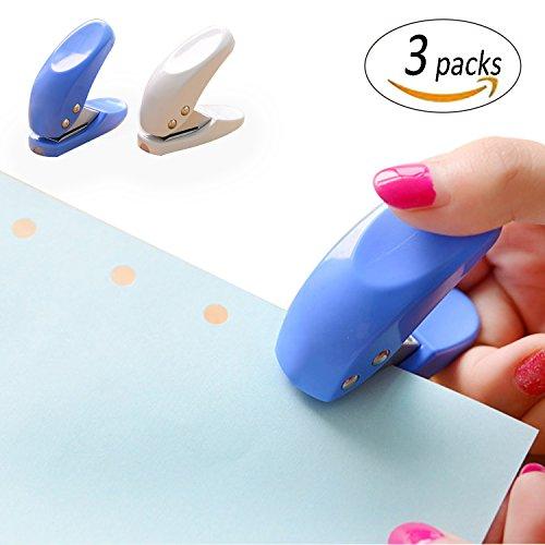 REKYO 3pcs Mini 1-Loch Papier Locher, Handheld Portable Puncher, 10 Blätter auf einmal, zufällige Farbe