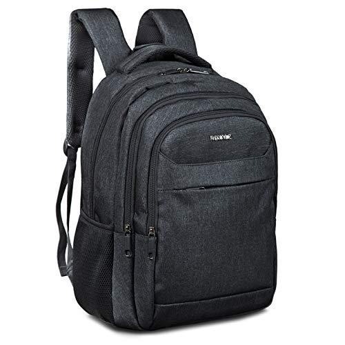 ROYALZ Rucksack für Schule Uni Freizeit mit Laptop-Fach 15,6 Zoll Herren Studenten Jungen Teenager Schul-Tasche viele Fächer gepolstert, Farbe:Schwarz