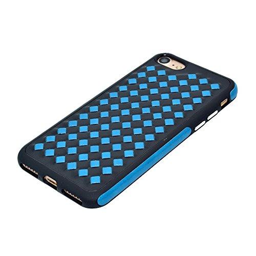 Wkae Diamond Knit Texture TPU Paste Skin Schutzhülle für iPhone 7 ( Color : Gold ) Blue
