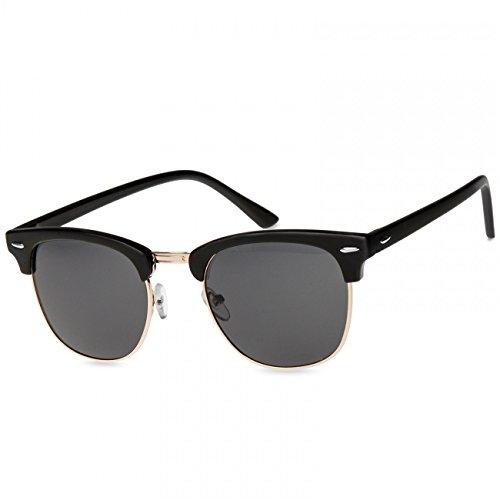 Caspar SG040 Unisex Vintage RETRO Design Sonnenbrille, Farbe:schwarz/schwarz getönt