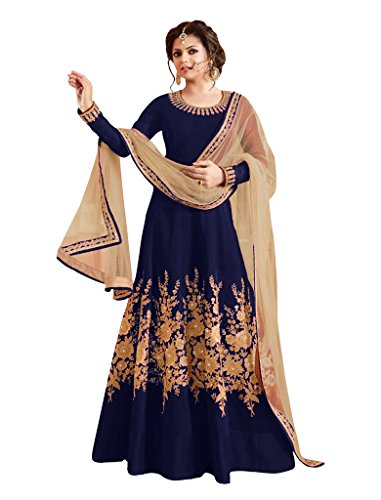 Sancom Brand New Designer Navy Blue Colour Bhagalpuri With Heavy Embroidery Anarkali Suit  available at amazon for Rs.1219