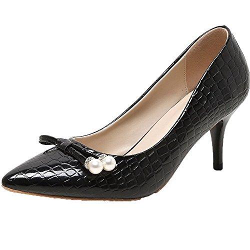AgooLar Femme Pointu Tire à Talon Haut Pu Cuir Couleur Unie Chaussures Légeres Noir