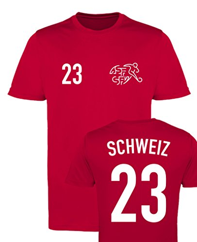 WM EM Trikot - Schweiz 23 - Herren T-Shirt - Rot/Weiss Gr. L