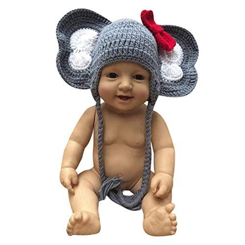 Wddqzf Dekoration Statuen Für Wurf Baby,Neugeborenes Baby Girl Boy Fotografie Prop Bogen Foto Häkeln Stricken Elefanten Mütze