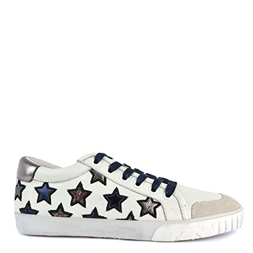 332939fac543f Ash MAJESTIC Star Motif Trainers Off White Leather with Chrome Accent 41  Off White/Chrome