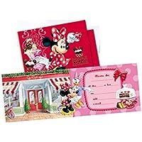 ALMACENESADAN 68325 Pack 6 Invitaciones Disney Minnie Mouse, sin Sobre. Invitaciones para Fiestas y cumpleaños