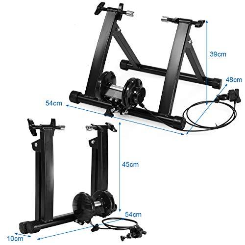COSTWAY Rodillo Magnético Entrenamiento Bicicleta de Acero con 5 Niveles de Resistencia Plegable Carga hasta 150kg Negro