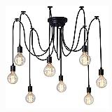Kronleuchter Loft Industriellen Retro Pendelleuchte Spinne Deckenleuchte Metall Deckenlampen E27×8 Edison LED Deckenstrahler Beleuchtung fur Wohnzimmer Esszimmer Küche (Enthält keine Lichtquelle)
