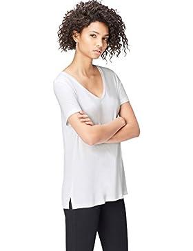 FIND T-Shirt Lunga con Scollo a V Donna
