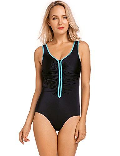 Delimira Damen Einteiler Badeanzug - Vorne Reißverschluss,Schale Slim Bademode Mehrfarbig #3