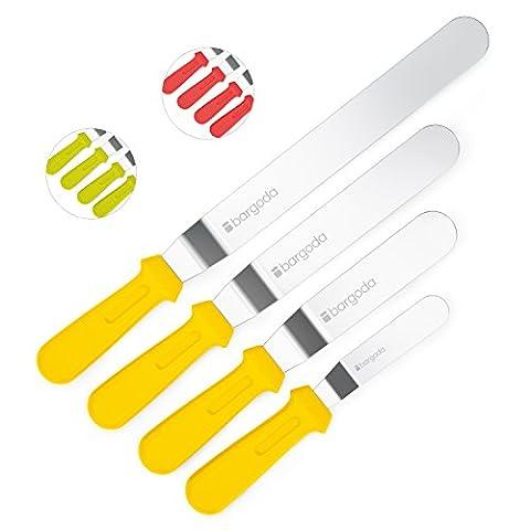 bargoda® Winkelpaletten premium (4er Set) - S/M/L/XL - hochwertige Verarbeitung - Streichpalette/Glasurpalette zum Kuchen & Torten bestreichen (Gelb)