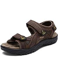 Onfly Verano de los hombres Cuero Casual Sandalias Abierto Antideslizante Playa Zapatos Zapatillas Para caminar Al aire libre Sandalias Zapatos de agua Zapatillas de deporte ocasionales , dark brown , 44