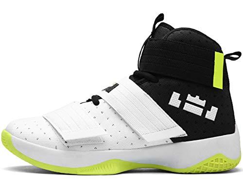 GNEDIAE Herren GNE2089 High-Top Basketball Schuhe Outdoor Anti-Rutsch Sneaker Atmungsaktiv Ausbildung Turnschuhe Sportschuhe Laufeschuhe Verschleißfeste Dämpfung Basketballstiefel Weiß 40 EU