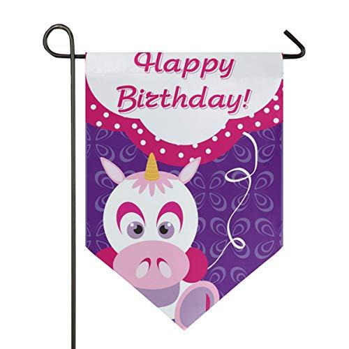 SENNSEE Hausflagge Happy Birthday Cartoon Einhorn Lustige Gartenflagge 30,5 x 45,7 cm doppelseitig dekorative Hofflagge für Zuhause Dekoration im Freien, Polyester, Multi, 28x40 (Freien Birthday Flagge Happy Im)