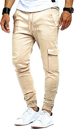 LEIF NELSON Herren Jogger Chino Cargo Jeans Hose Freitzeithose LN8071; Größe XXL; Schwarz