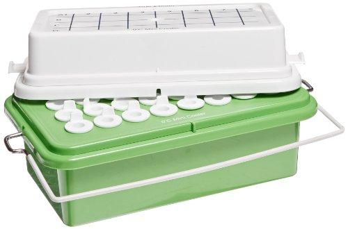 Heathrow Scientific HD120072 True North Mini Cooler mit Gel gefülltem Deckel für 0.5-2.0 mL, 32 mm Röhrchen, Polycarbonate, Maximum Temperatur 0 Grad Celsius, Grün