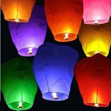 Lot de 20 Lanternes chinoise Fire Sky Fly souhait pour anniversaire de mariage Multicolore