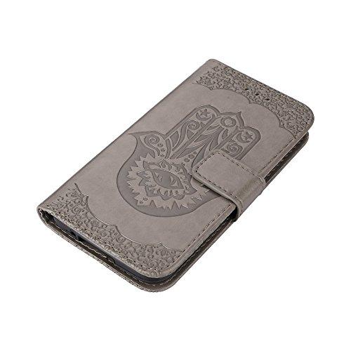 EKINHUI Case Cover Geprägte Palmen-Blumen-Muster Retro PU-lederne Mappen-Beutel-Kasten-Abdeckung mit Einbauschlitzen und Abzuglinie für Samsung-Galaxie S5 ( Color : Pink ) Gray