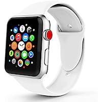 Tervoka Für Apple Watch Armband 38mm(40mm Series 4), Weiche Silikon Ersatz Armbänder für Apple Watch Armband 38mm 40mm Series 4/3/2/1, Sport, Edition, S/M, weiß