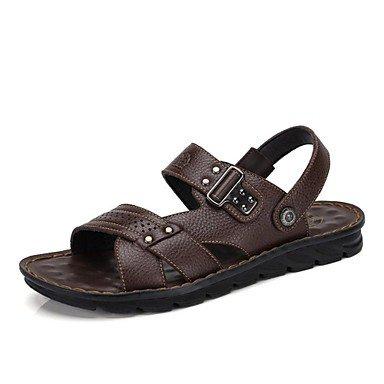 Camel Uomini Casuale mucca sandali di cuoio Non-slip Slip in estate spiaggia Indossare flip flop colore nero/marrone Brown