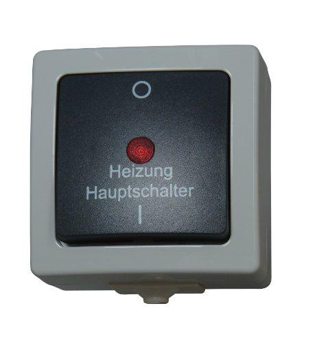 Kopp Nautic Heizungs-Hauptschalter, beleuchtet, Kontrollschalter 2-polig für Feuchtraum, Basiselement mit Komplettgehäuse, herausnehmbarer Sockel, Aufputz, 250V (10A), IP44, grau, 565356002