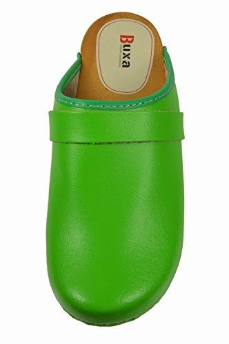 Buxa Zoccoli semplice per le Donne in Legno / Pelle Verde