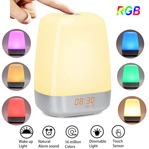 GreenSun LED Lighting Réveil lumineux Wake Up Lampe de chevet Touch 5 tons de réveil naturels USB Spots de lever du soleil Lampe d'ambiance pour chambre d'enfant Cadeau