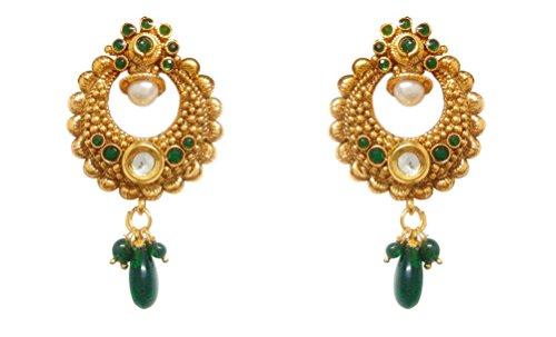 Chandrika Pearls Gems & Jewellers Ram Leela Inspired Kundan Polki cubic zirconia navratri garba dandia copper Earrings for women and girls  available at amazon for Rs.250