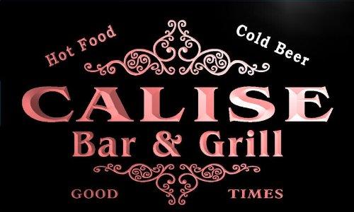 (u06584-r CALISE Family Name Bar & Grill Cold Beer Neon Light Sign Barlicht Neonlicht Lichtwerbung)