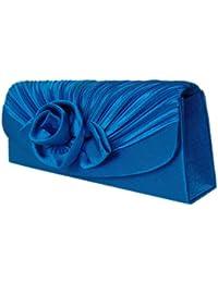 Damen Abendtasche,Clutch,Satin Handtasche Blau,Royalblau