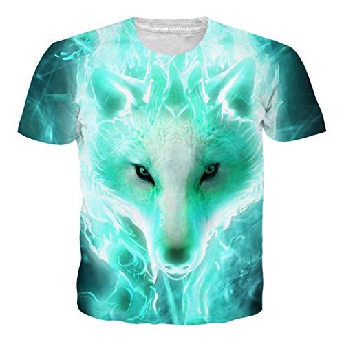 Sommer Casual Tiermuster T Shirts Kurzarm 3D T-Shirt Wolf Fox Tees Für Männer Frauen Multi XL (Assassin's Creed 2 Alle Kostüme)